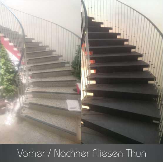 Fliesen Thun - Quartz Stein Thun - Vorher - Nachher - Steinteppich Treppe